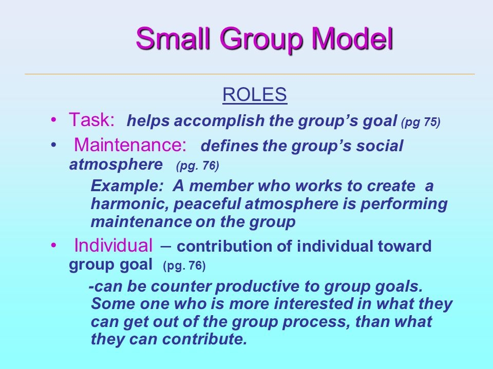 Small Group Model ROLES