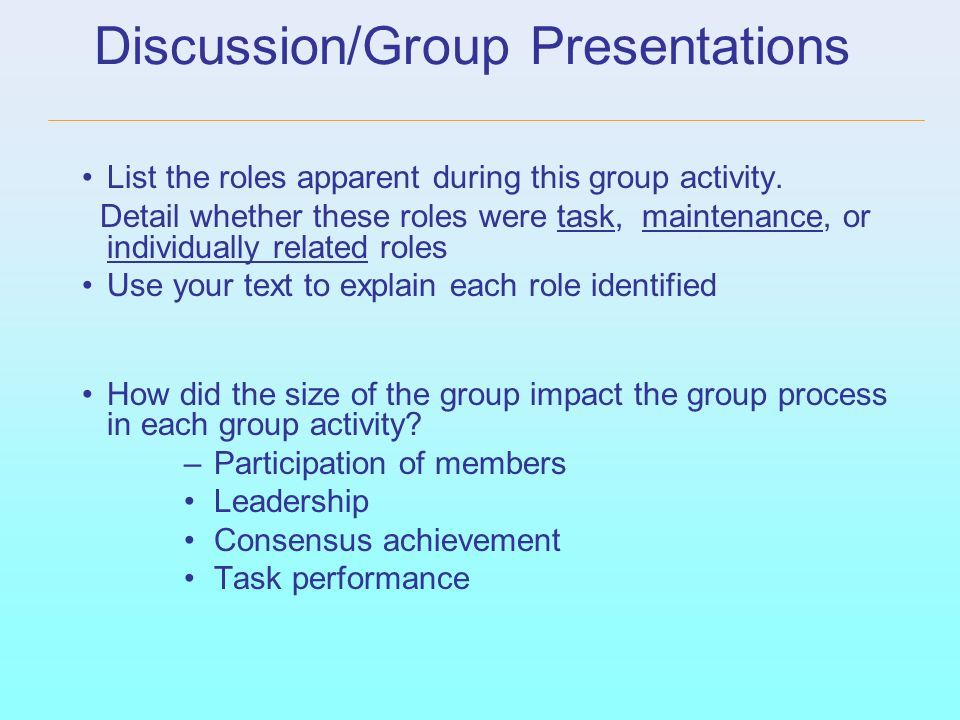 Discussion/Group Presentations