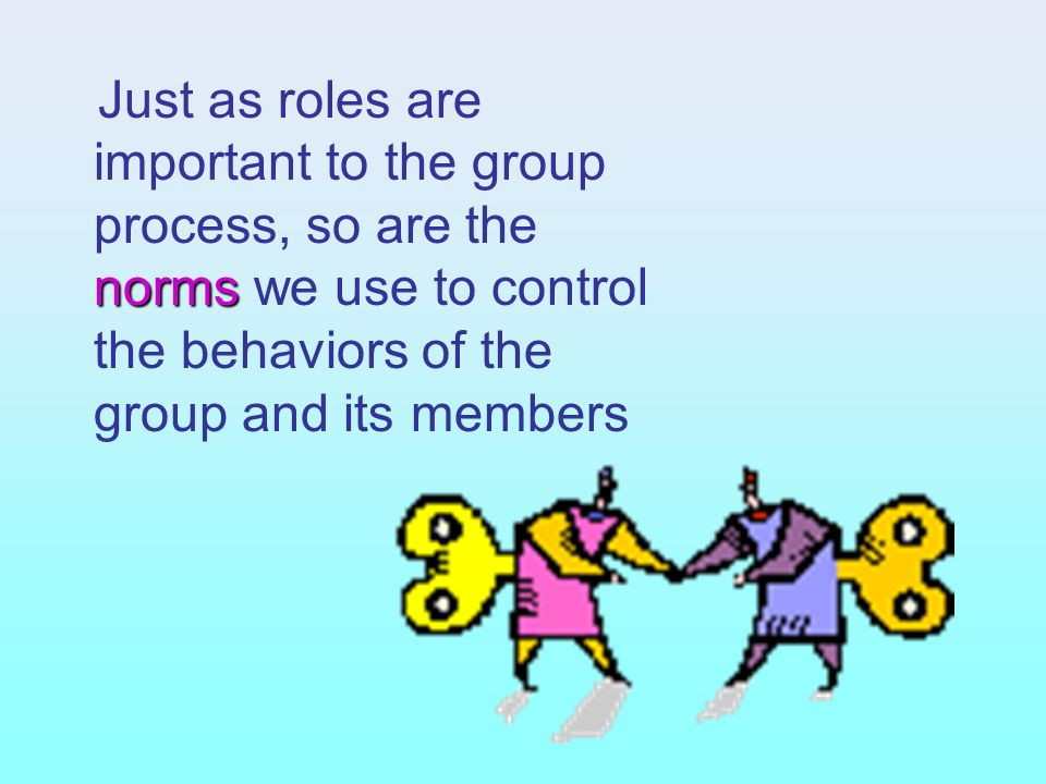 Just as roles are important to the group process, so are the norms we use to control the behaviors of the group and its members