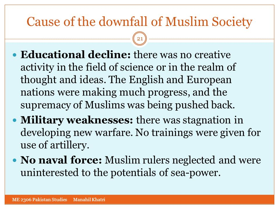 Cause of the downfall of Muslim Society