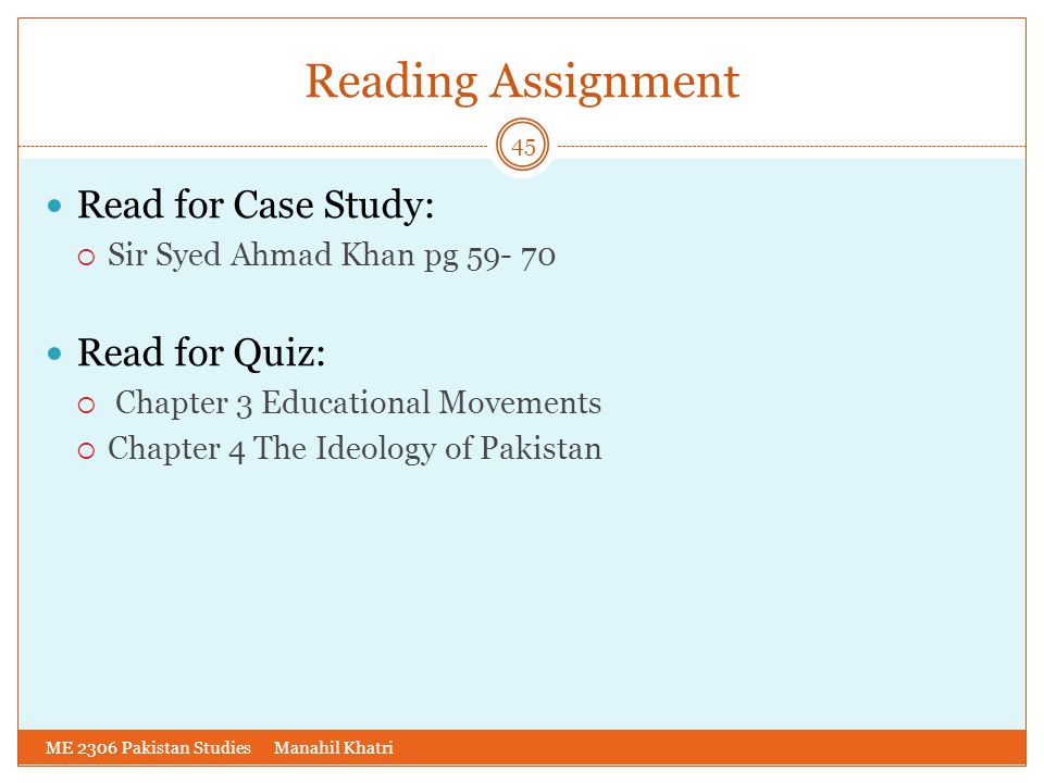 Reading Assignment Read for Case Study: Read for Quiz: