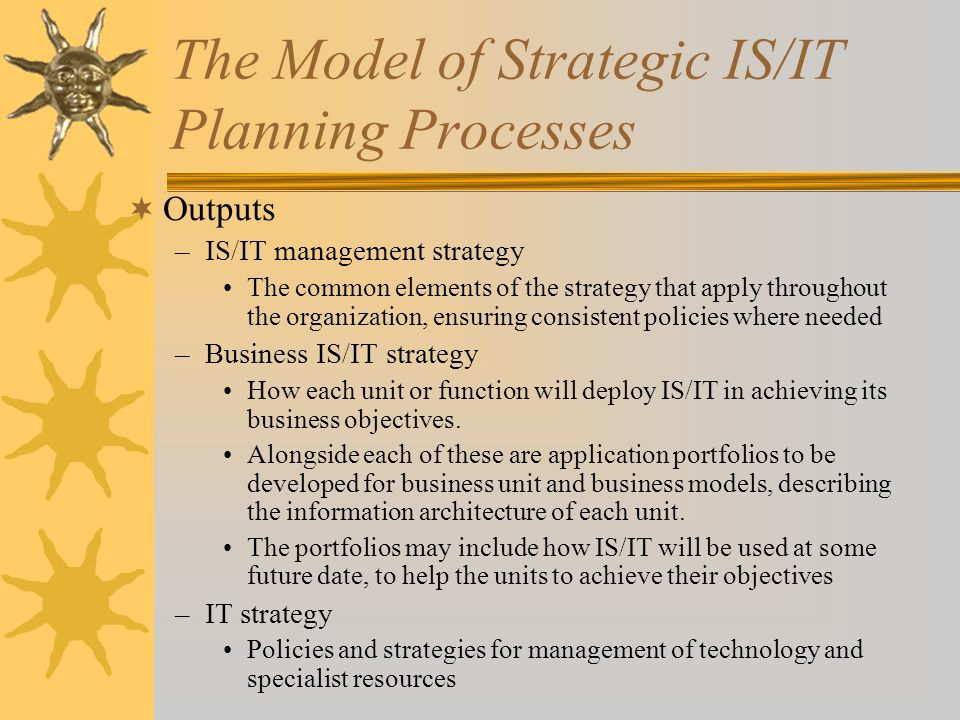 The Model of Strategic IS/IT Planning Processes