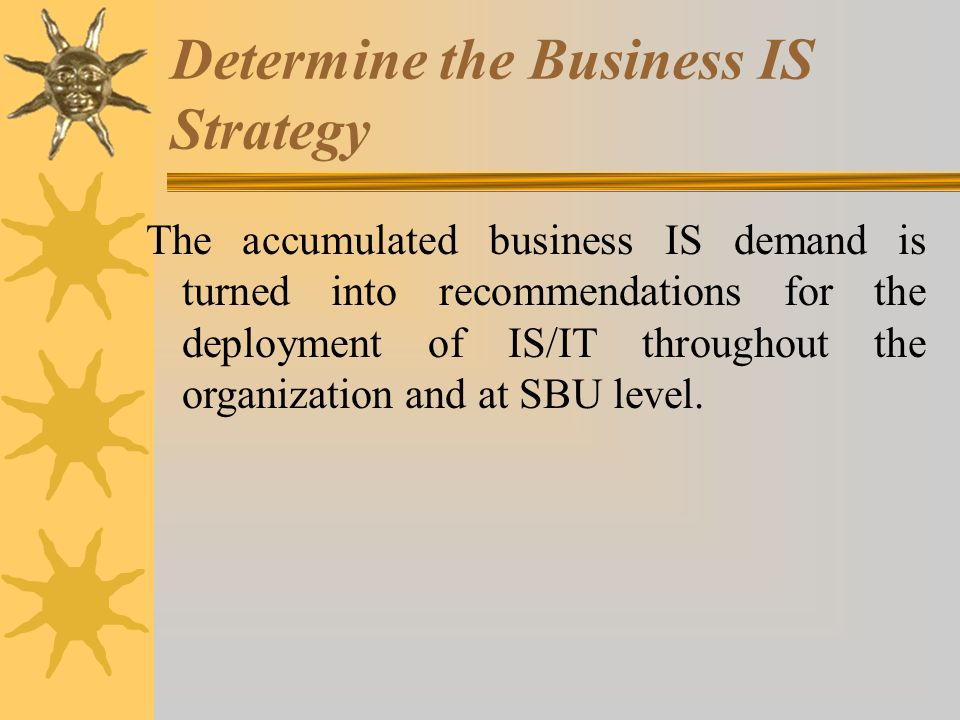 Determine the Business IS Strategy