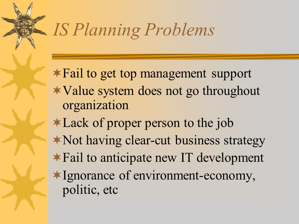 IS Planning Problems Fail to get top management support