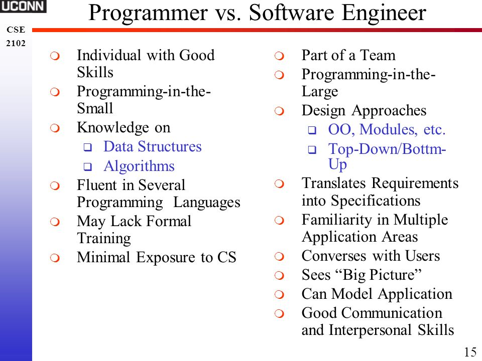 Programmer vs. Software Engineer