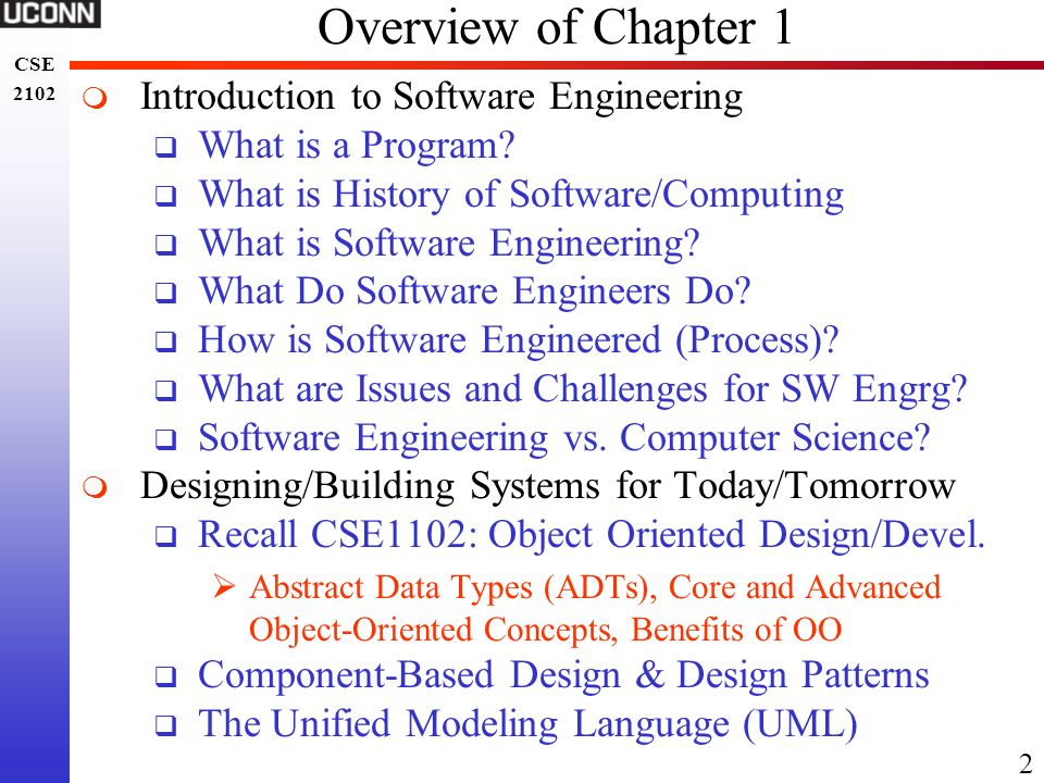 Overview of Chapter 1 Introduction to Software Engineering
