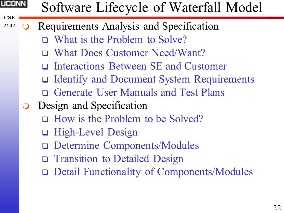 Software Lifecycle of Waterfall Model