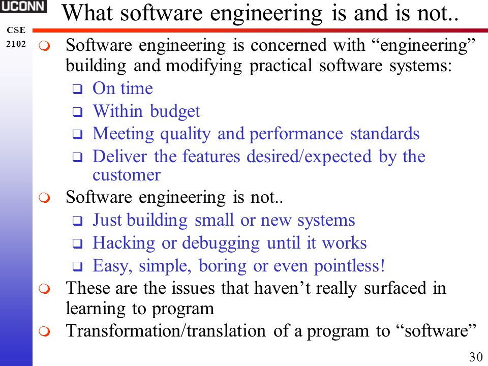 What software engineering is and is not..