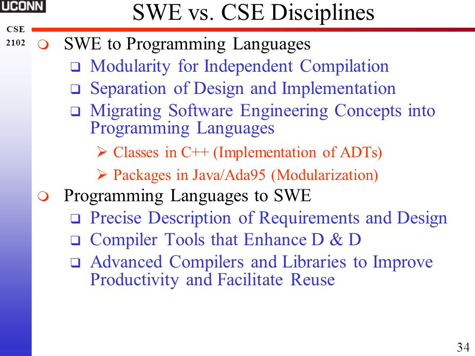 SWE vs. CSE Disciplines SWE to Programming Languages