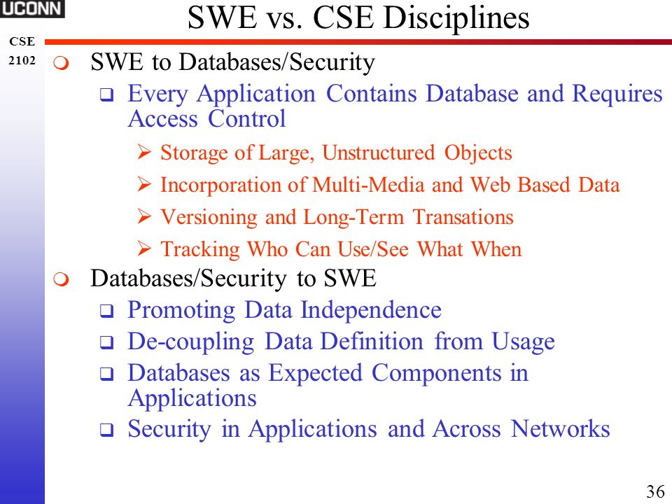 SWE vs. CSE Disciplines SWE to Databases/Security