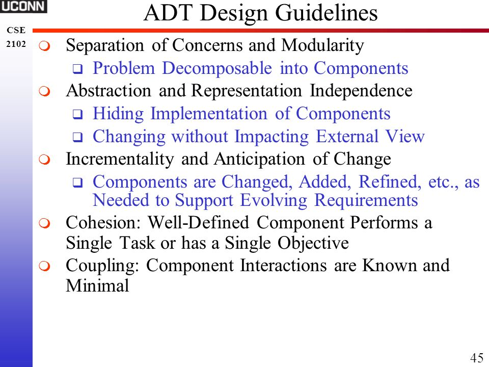 ADT Design Guidelines Separation of Concerns and Modularity