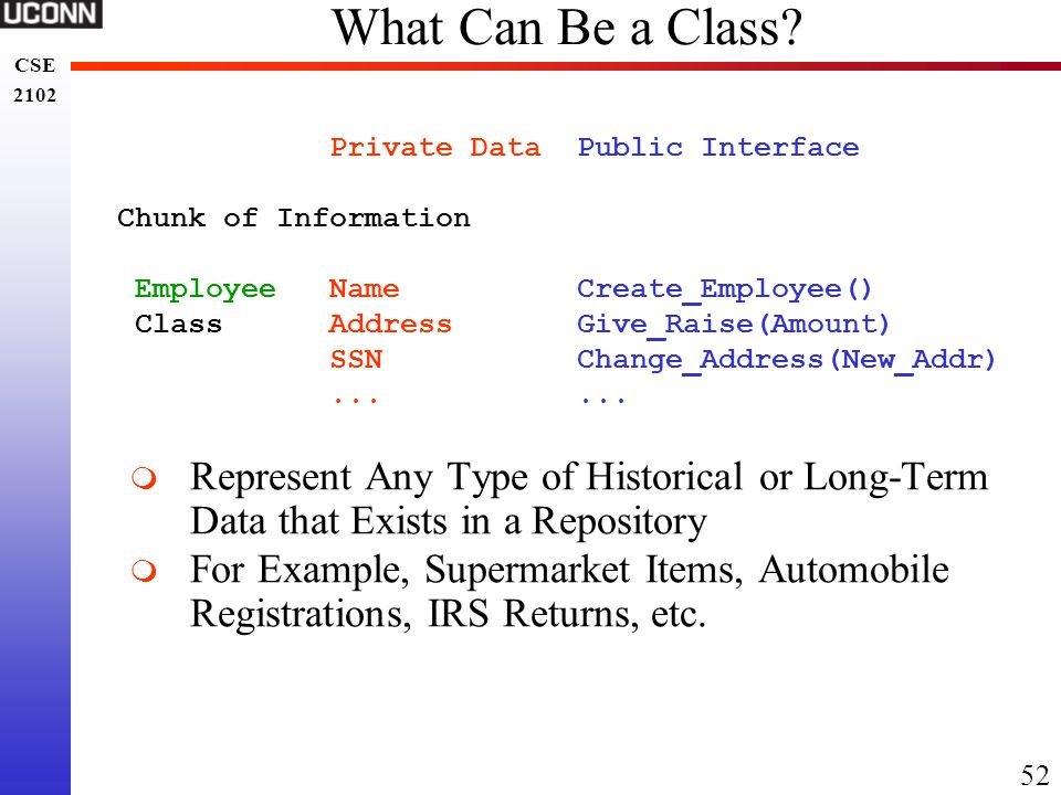 What Can Be a Class Private Data Public Interface. Chunk of Information. Employee Name Create_Employee()