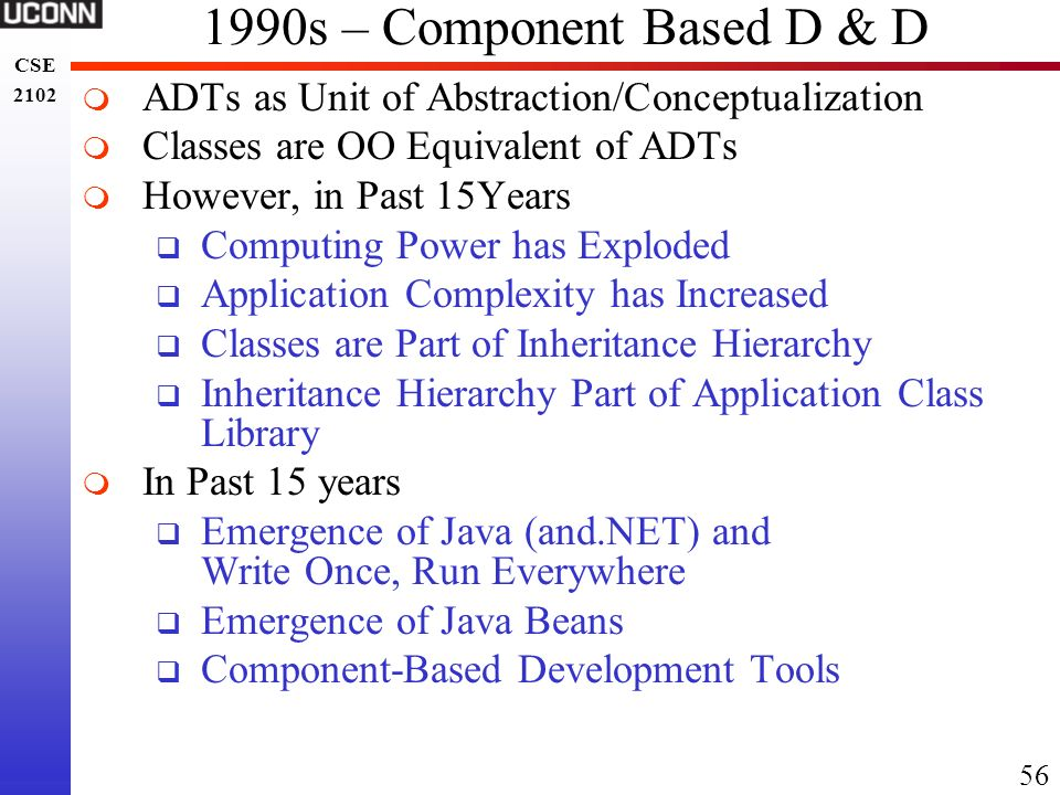1990s – Component Based D & D ADTs as Unit of Abstraction/Conceptualization. Classes are OO Equivalent of ADTs.
