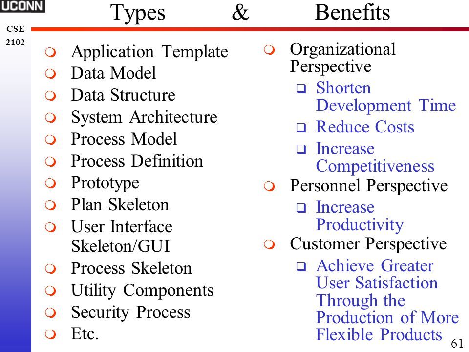 Types & Benefits Application Template Data Model Data Structure