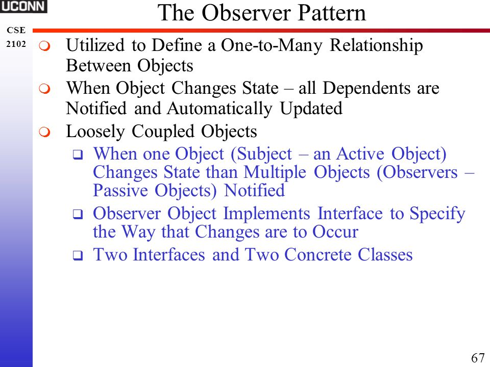 The Observer Pattern Utilized to Define a One-to-Many Relationship Between Objects.