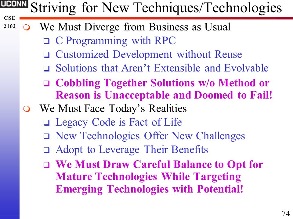 Striving for New Techniques/Technologies
