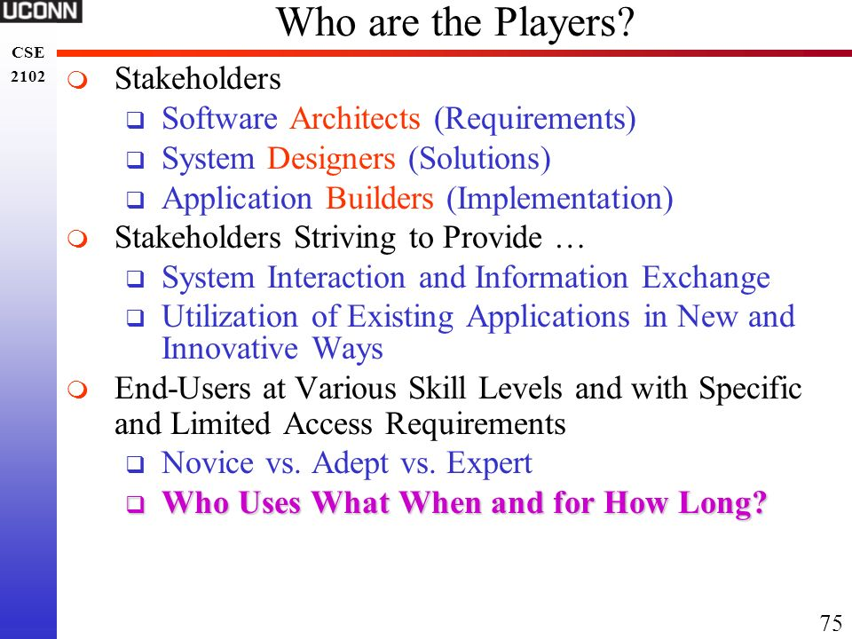 Who are the Players Stakeholders Software Architects (Requirements)