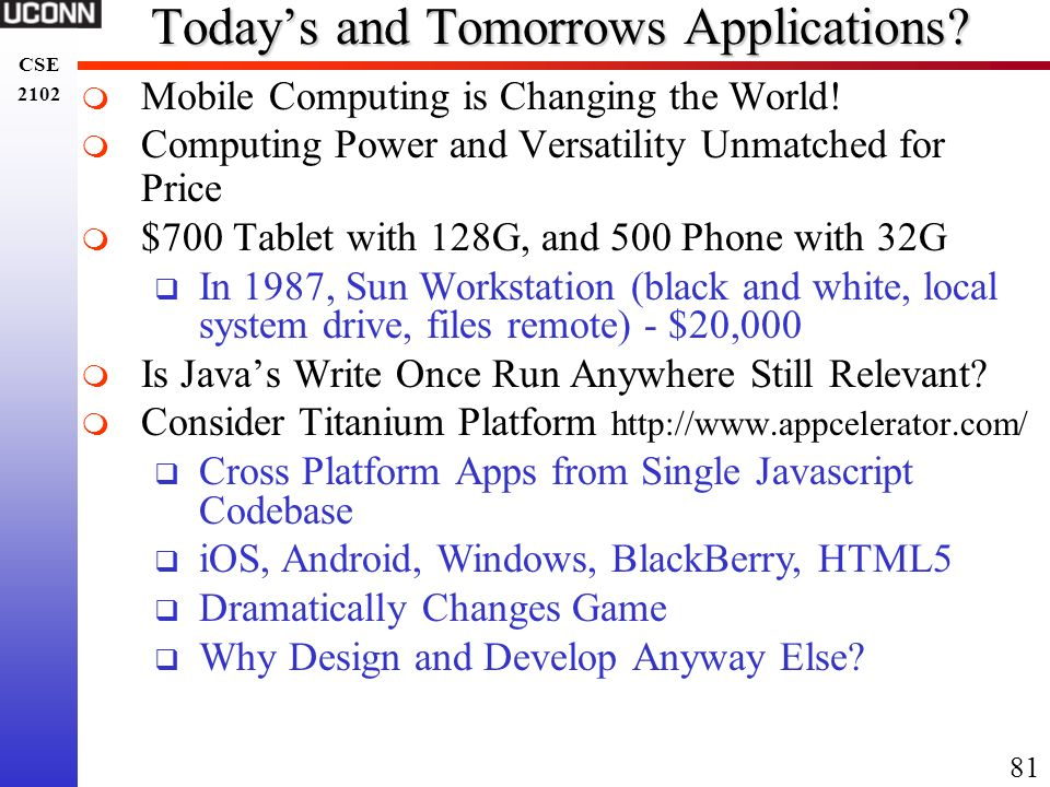 Today's and Tomorrows Applications