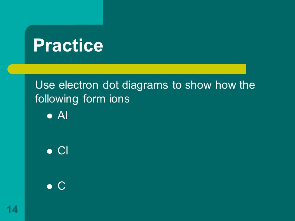 Practice Use electron dot diagrams to show how the following form ions