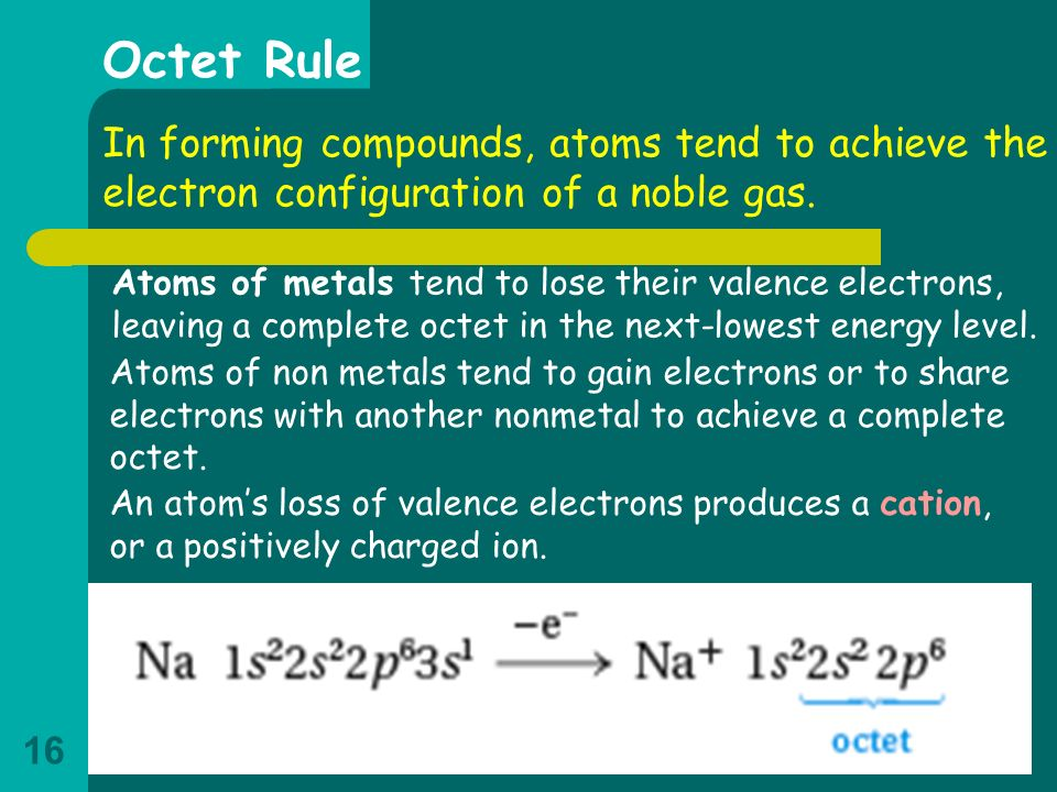 Octet Rule In forming compounds, atoms tend to achieve the electron configuration of a noble gas.