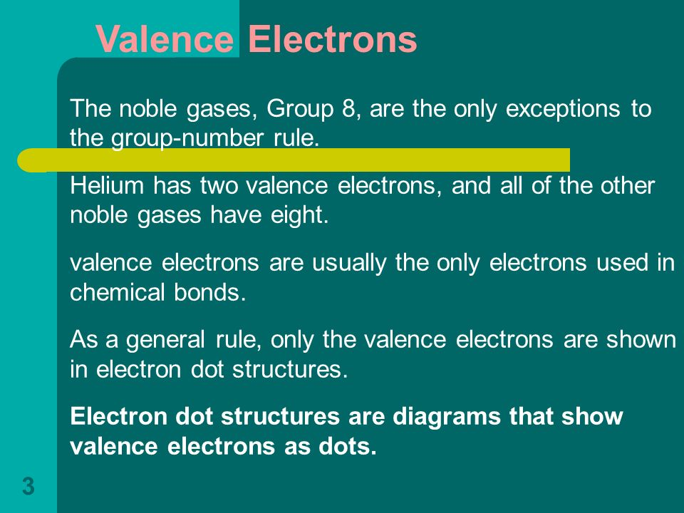 Valence Electrons The noble gases, Group 8, are the only exceptions to the group-number rule.