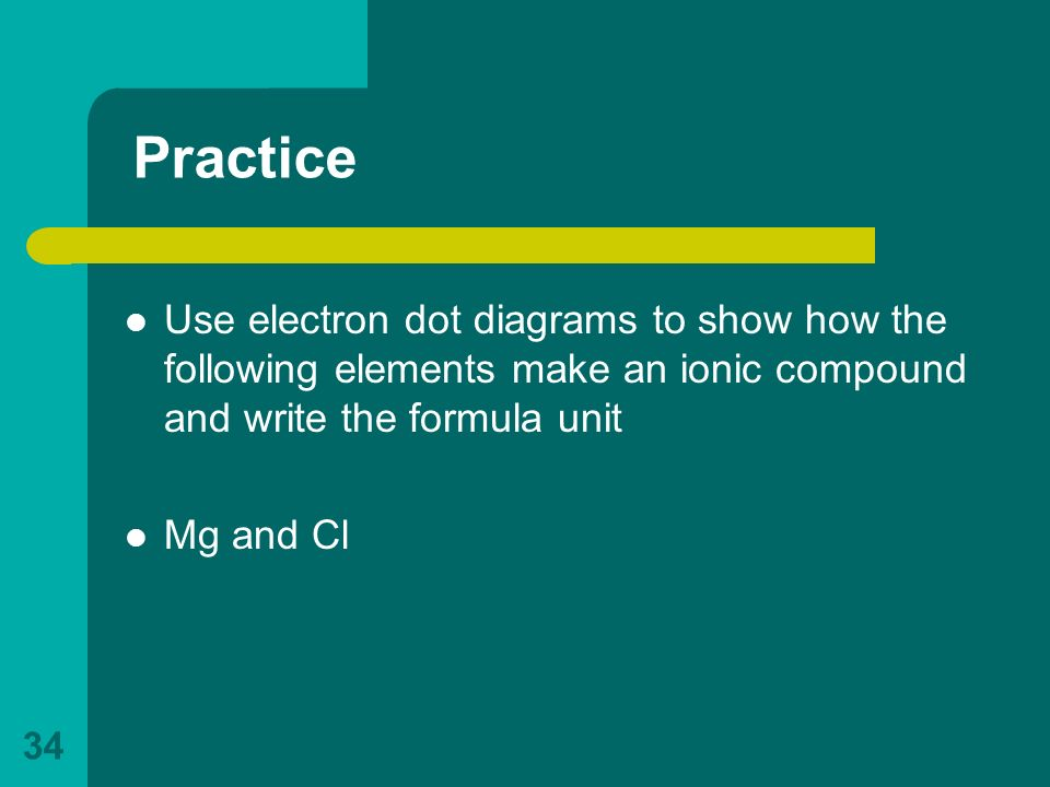 Practice Use electron dot diagrams to show how the following elements make an ionic compound and write the formula unit.