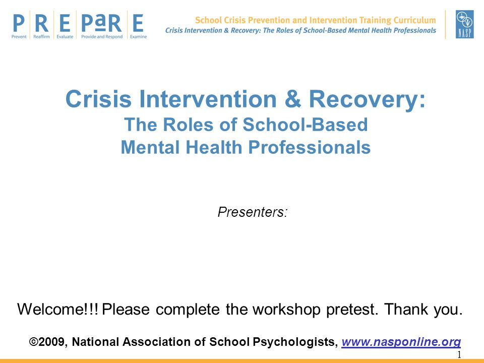 Crisis Intervention & Recovery: The Roles of School-Based Mental Health Professionals