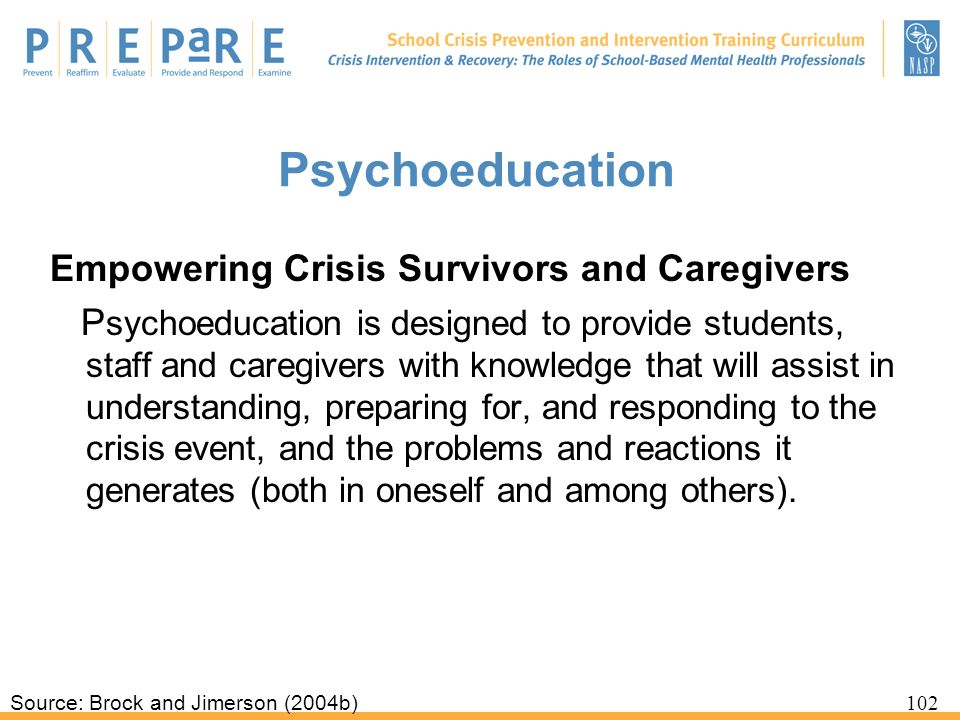 Psychoeducation Empowering Crisis Survivors and Caregivers