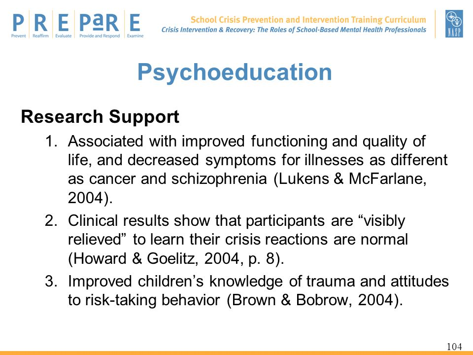 Psychoeducation Research Support