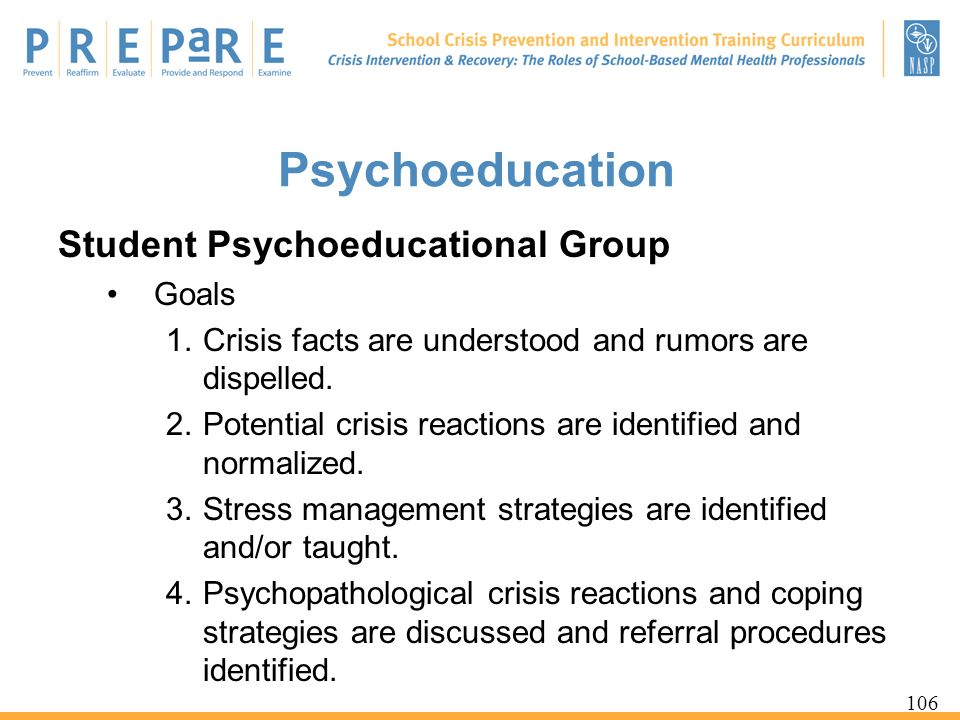 Psychoeducation Student Psychoeducational Group Goals