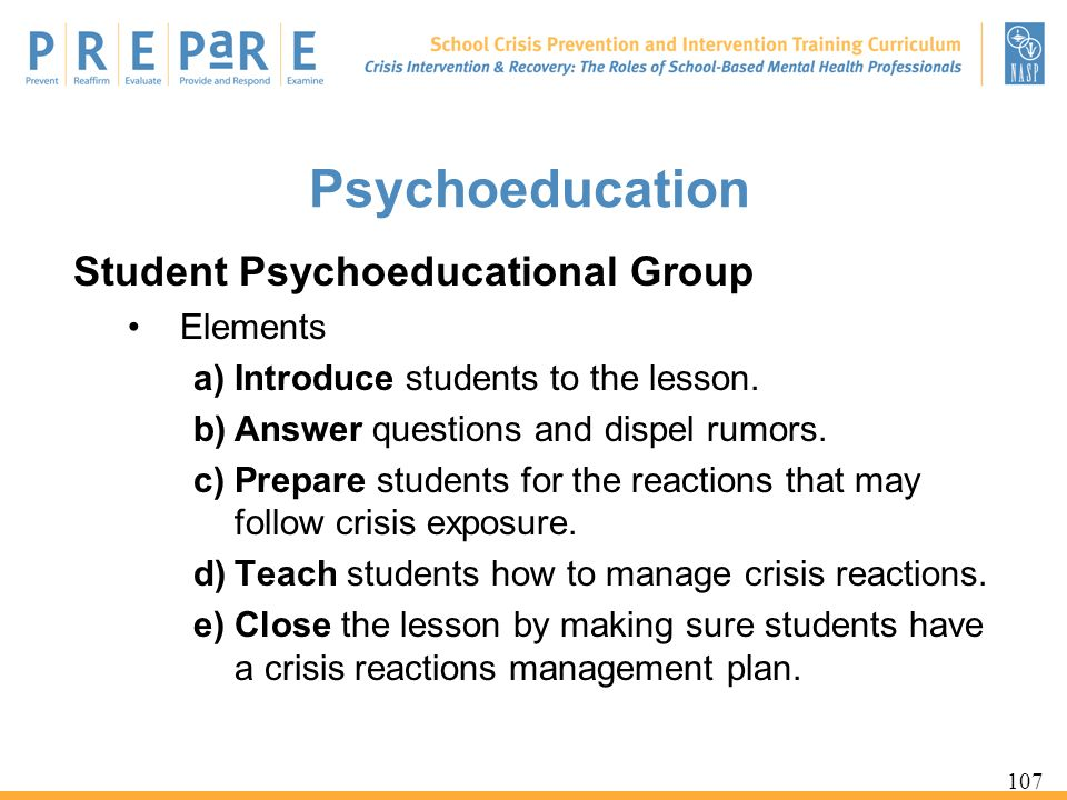Psychoeducation Student Psychoeducational Group Elements