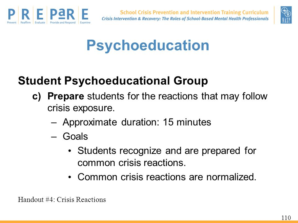 Psychoeducation Student Psychoeducational Group