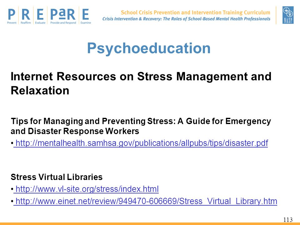 Psychoeducation Internet Resources on Stress Management and Relaxation