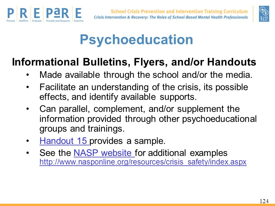 Psychoeducation Informational Bulletins, Flyers, and/or Handouts