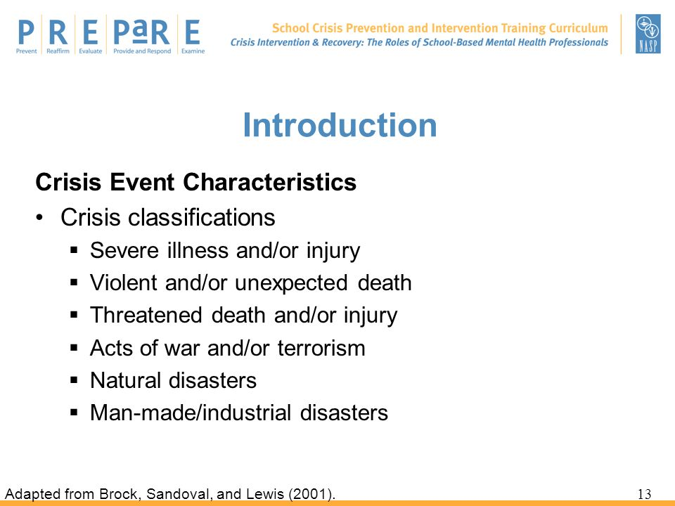 Introduction Crisis Event Characteristics Crisis classifications