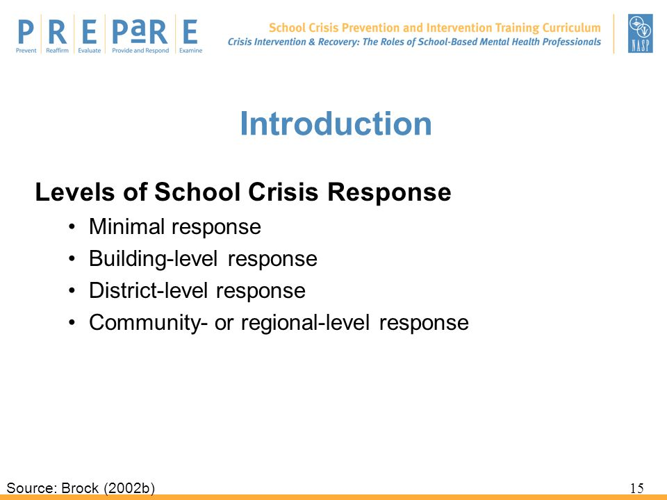 Introduction Levels of School Crisis Response Minimal response