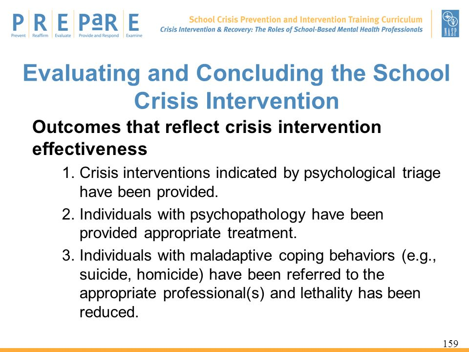 Evaluating and Concluding the School Crisis Intervention