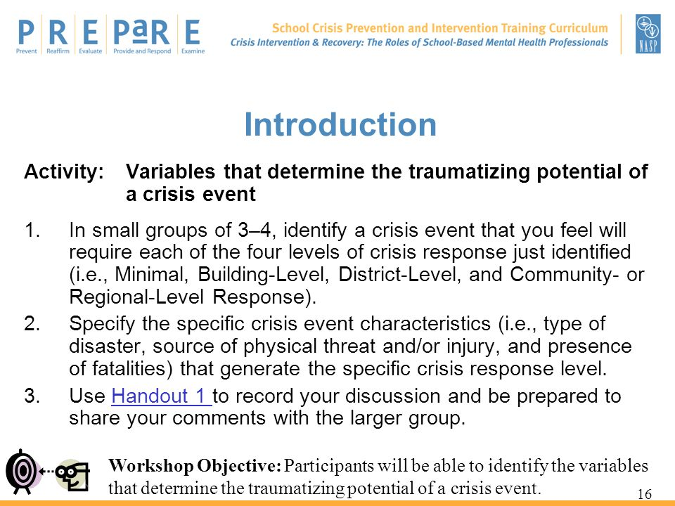 Introduction Activity: Variables that determine the traumatizing potential of a crisis event.