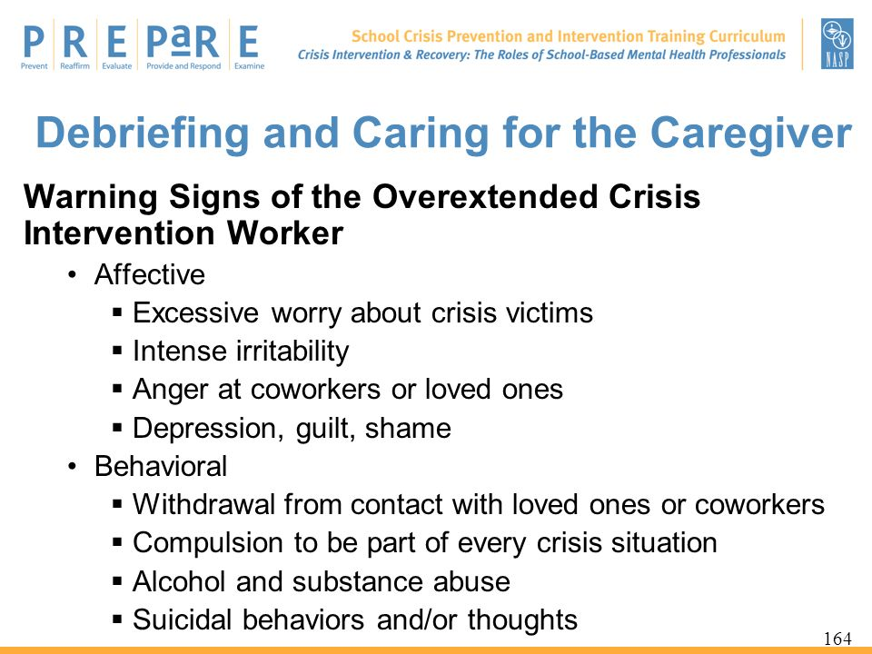 Debriefing and Caring for the Caregiver