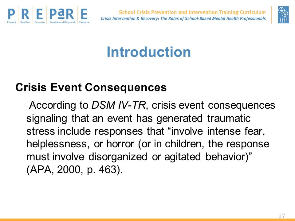 Introduction Crisis Event Consequences.