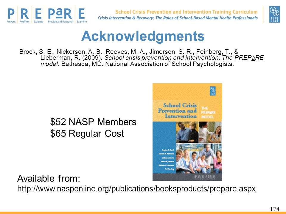 Acknowledgments $52 NASP Members $65 Regular Cost Available from: