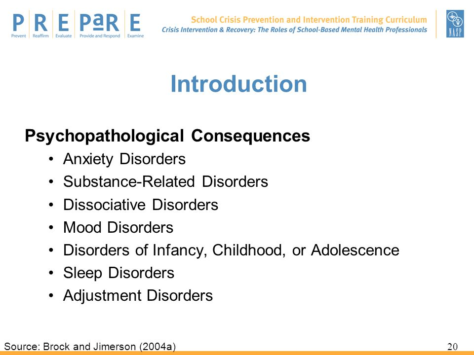 Introduction Psychopathological Consequences Anxiety Disorders