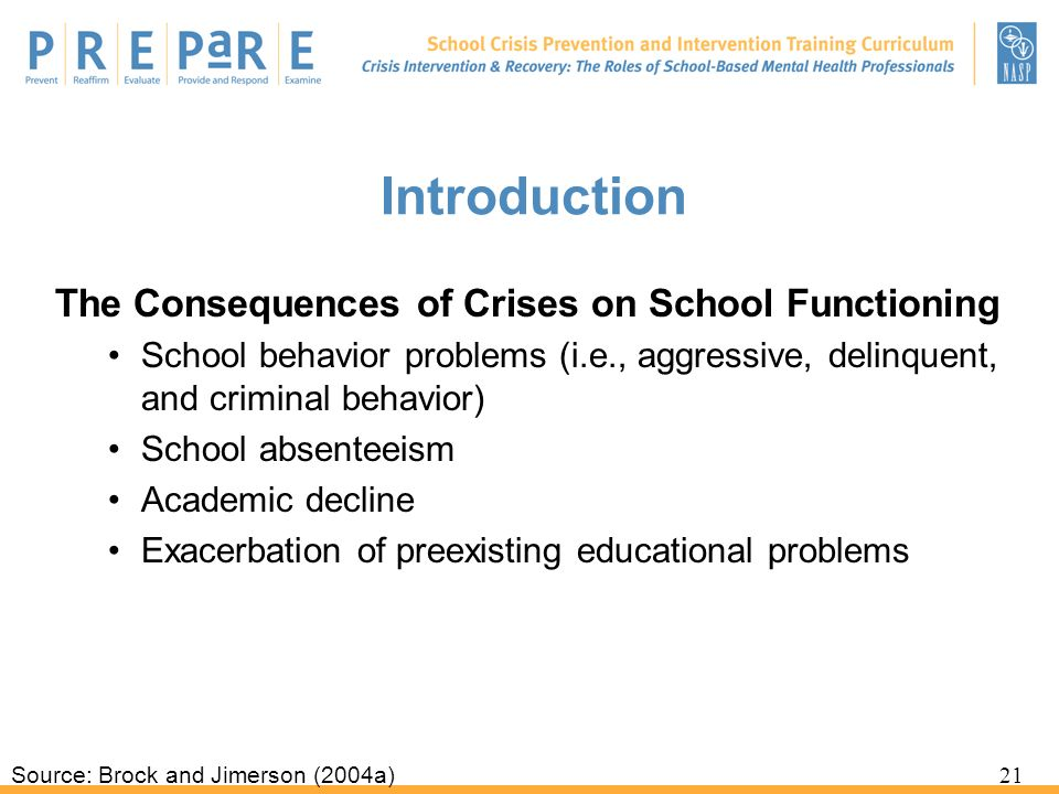 Introduction The Consequences of Crises on School Functioning