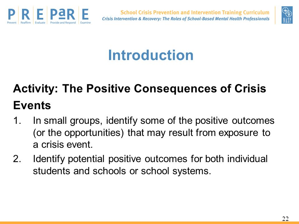 Introduction Activity: The Positive Consequences of Crisis Events