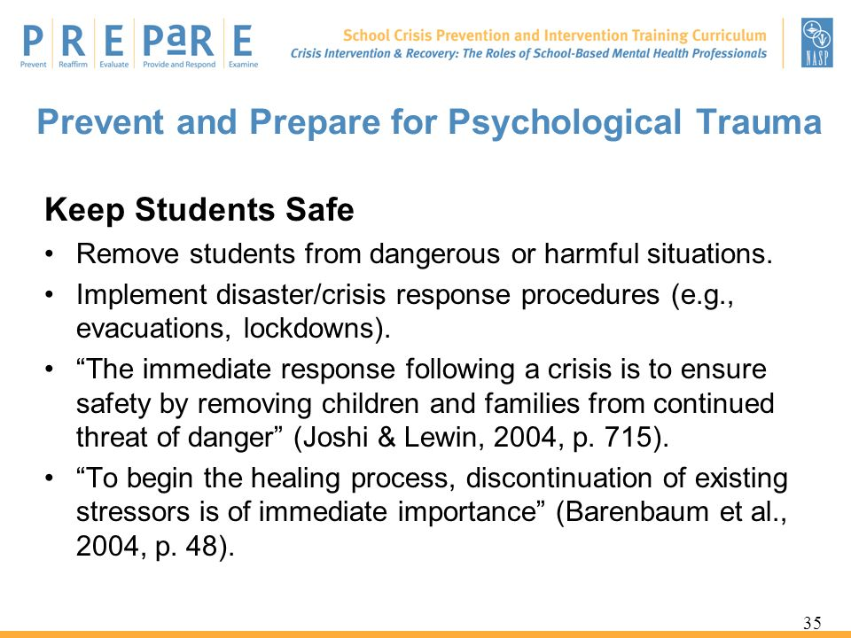 Prevent and Prepare for Psychological Trauma