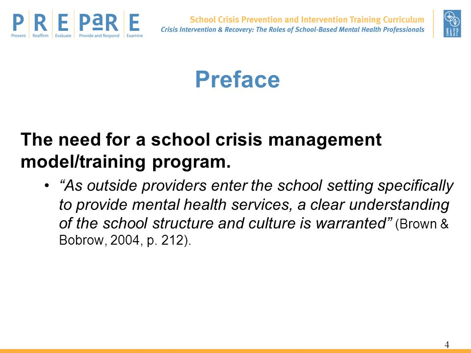 Preface The need for a school crisis management model/training program.