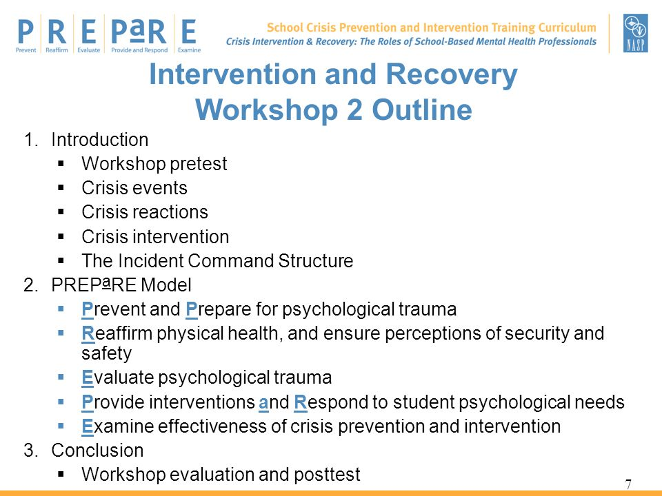 Intervention and Recovery Workshop 2 Outline