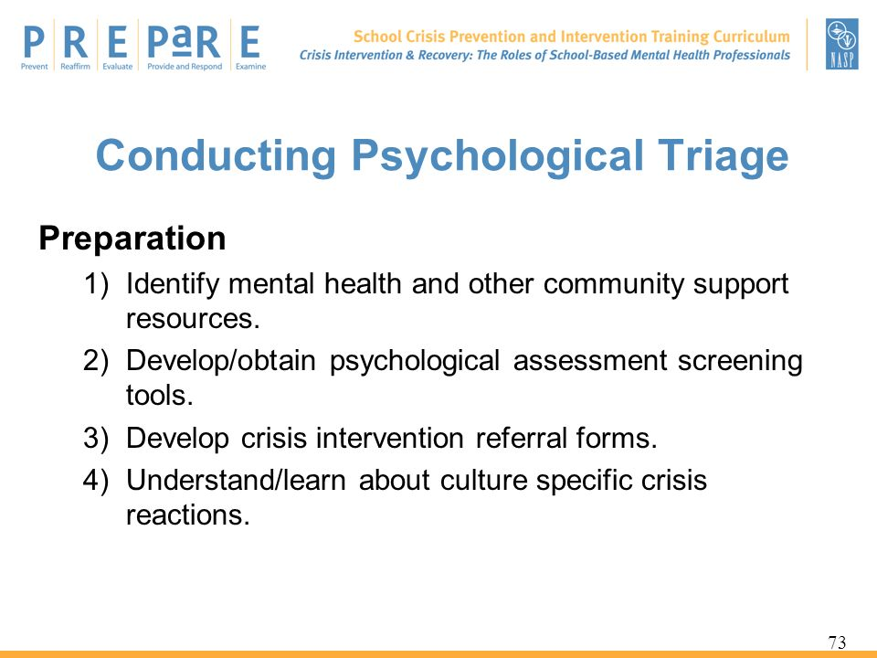 Conducting Psychological Triage