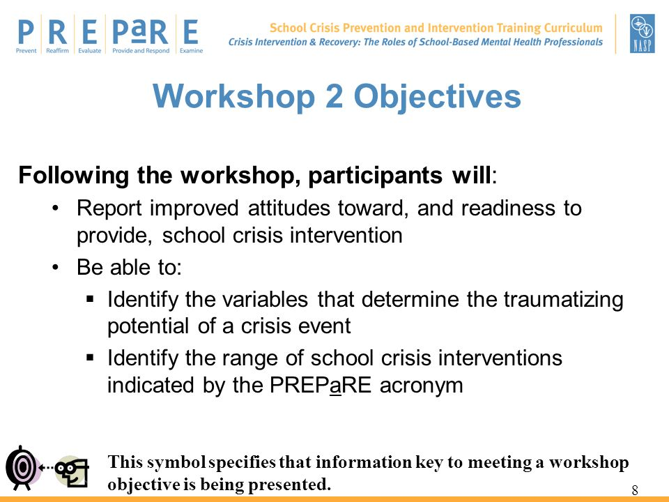Workshop 2 Objectives Following the workshop, participants will: