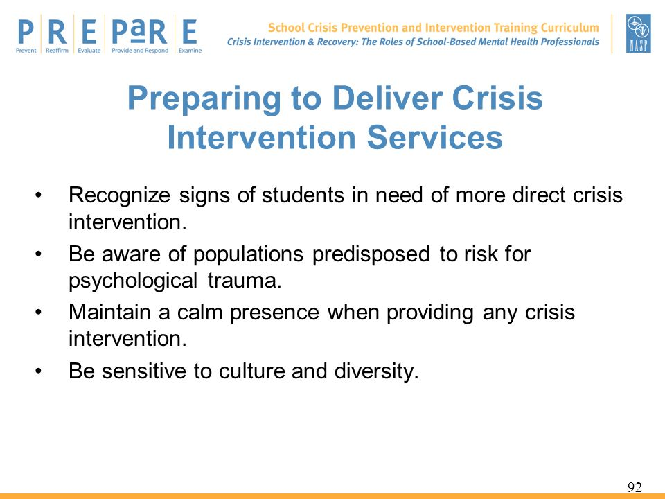 Preparing to Deliver Crisis Intervention Services